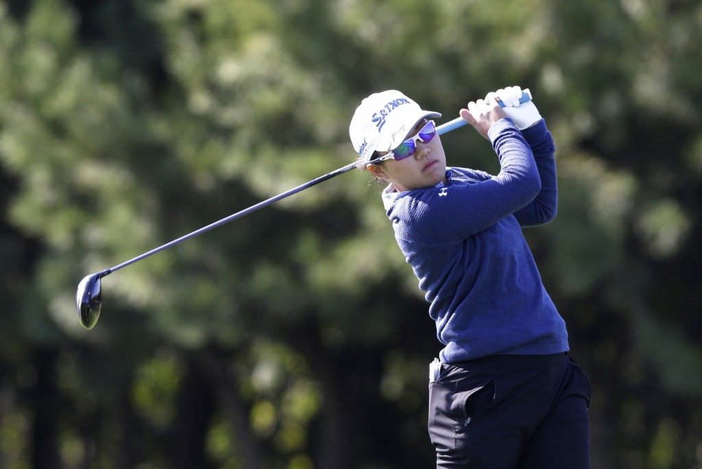 Nasa Hataoka of Japan watches her shot on the second hole during the first round of the LPGA KEB Hana Bank Championship at Sky72 Golf Club in Incheon,