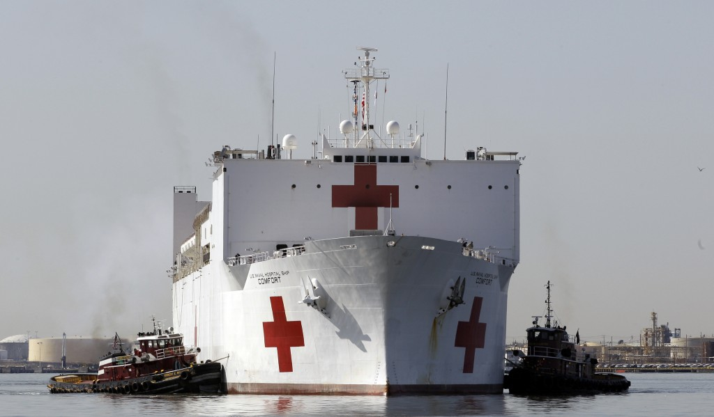 FILE - In this March 19, 2010 file photo, the Navy hospital ship USNS Comfort returns to port, in Baltimore, after providing disaster relief operation