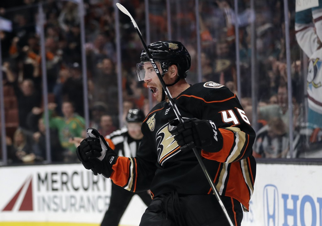 Anaheim Ducks' Ben Street celebrates after scoring against the Arizona Coyotes during the second period of an NHL hockey game Wednesday, Oct. 10, 2018