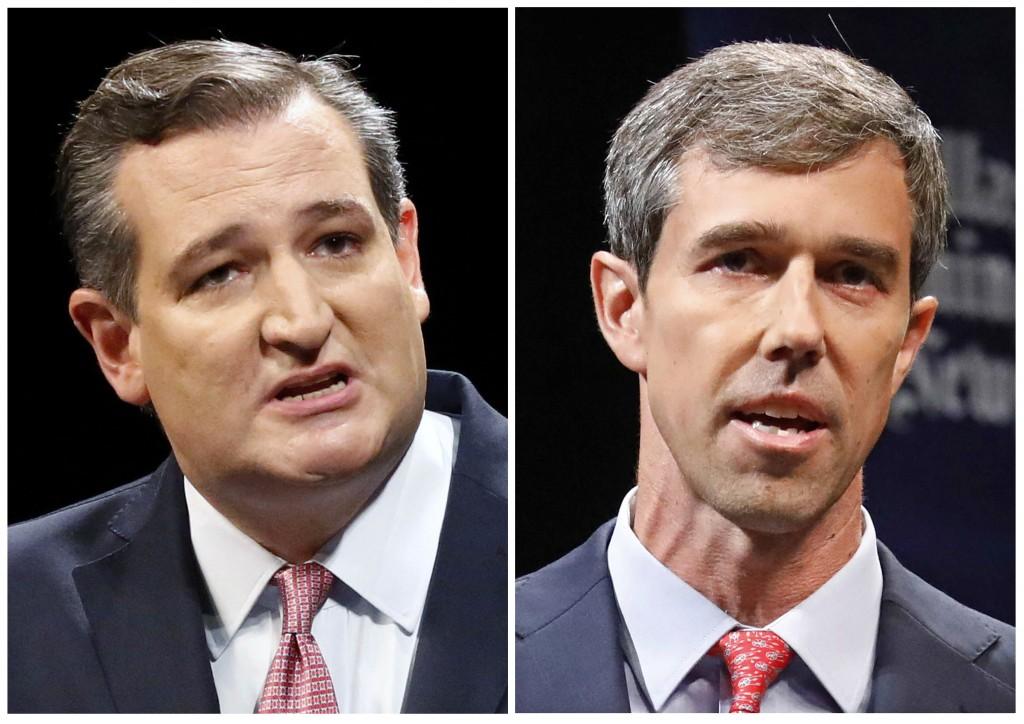 This combination of Sept. 21, 2018, file photos show Republican U.S. Senator Ted Cruz, left, and Democratic U.S. Representative Beto O'Rourke, right,
