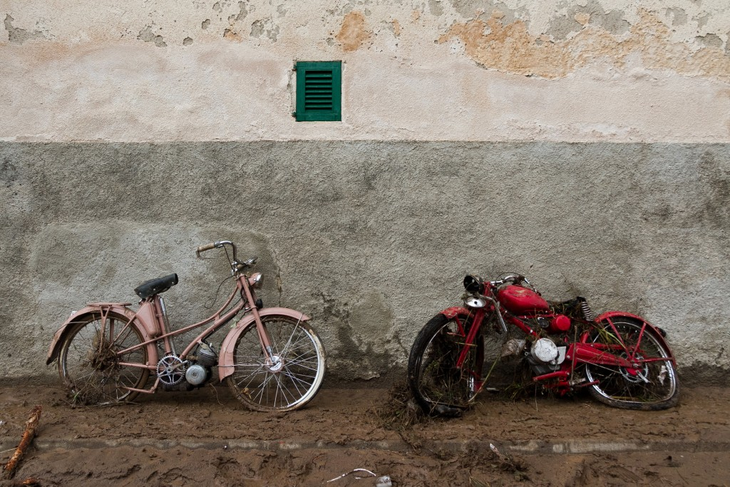 Damaged motorcycles after flooding in Sant Llorenc, 60 kilometers (40 miles) east of Mallorca's capital, Palma, Spain, Wednesday, Oct. 10, 2018. Torre