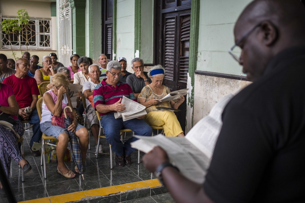In this Sept. 30, 2018 photo, residents gather for a public forum on constitutional reform in Havana, Cuba. At a half-dozen public forums attended by