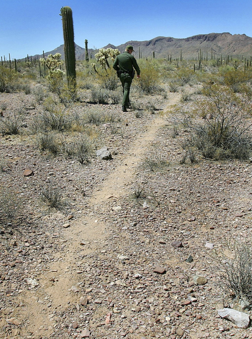 FILE - In this May 24, 2006, file photo, U.S. Border Patrol Senior Agent Sean King patrols a trail in Organ Pipe Cactus National Monument near Lukevil