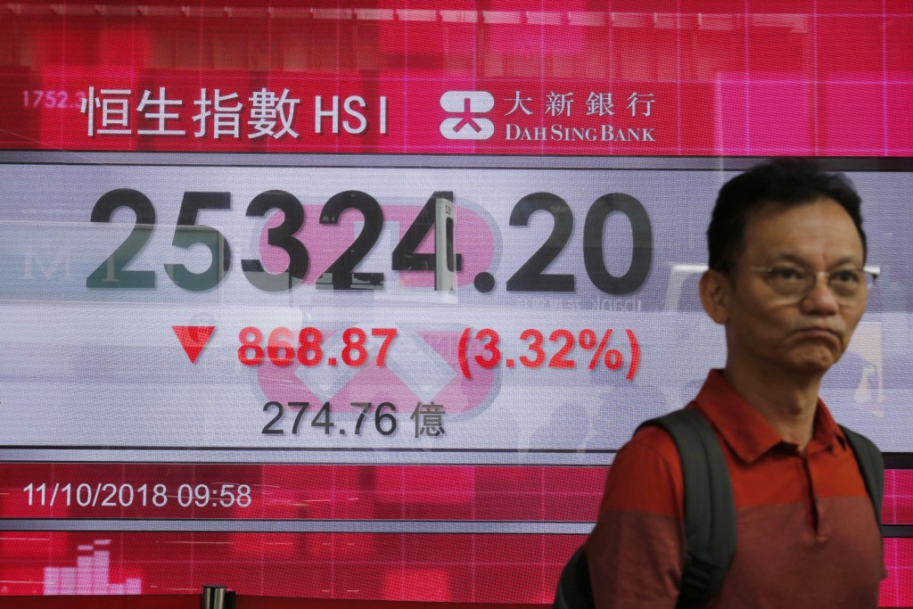 A man walks past an electronic board showing Hong Kong share index outside a bank In Hong Kong, Thursday, Oct. 11, 2018. Asian markets tumbled on Thur