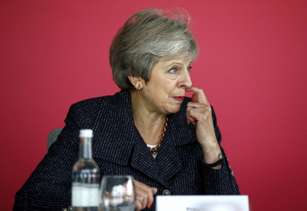 Britain's Prime Minister Theresa May attends a roundtable meeting with business leaders whose companies are inaugural signatories of the Race at Work ...