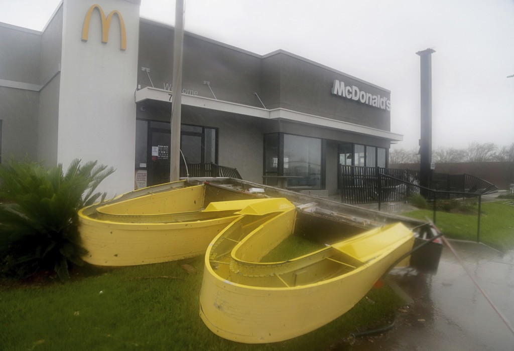 This photo shows a McDonald's restaurant damaged after Hurricane Michael went through the area in Panama City, Fla., Wednesday, Oct. 10, 2018. Superch