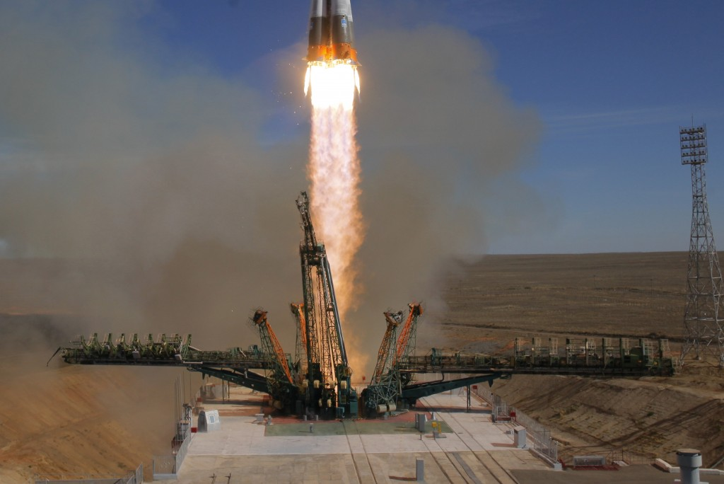 The Soyuz-FG rocket booster with Soyuz MS-10 space ship carrying a new crew to the International Space Station, ISS, blasts off at the Russian leased