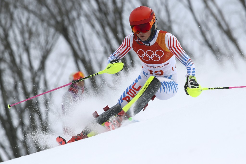 FILE - In this Thursday, Feb. 22, 2018 file photo, United States' Mikaela Shiffrin competes in the women's combined slalom at the 2018 Winter Olympics