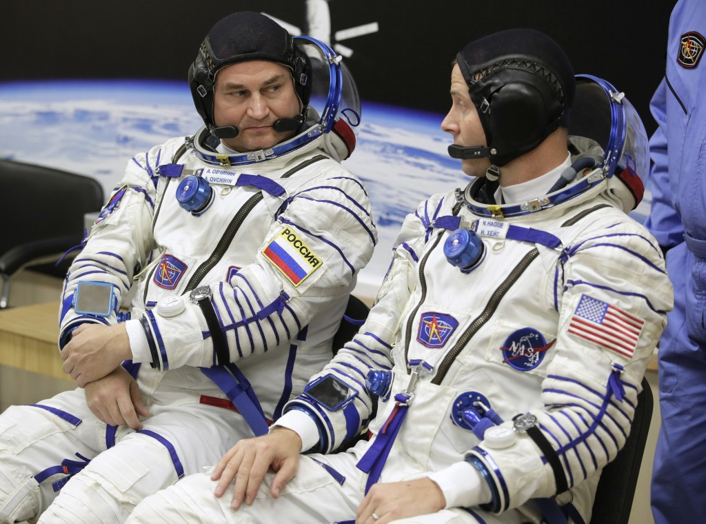 U.S. astronaut Nick Hague, right and Russian cosmonaut Alexey Ovchinin, member of the main crew of the expedition to the International Space Station (
