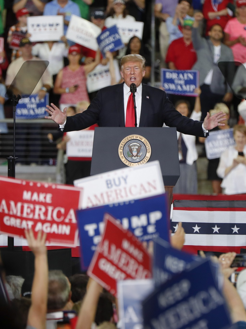 President Donald Trump speaks at a rally endorsing the Republican ticket in Pennsylvania on Wednesday, Oct. 10, 2018 in Erie, Pa.(AP Photo/Keith Srako...