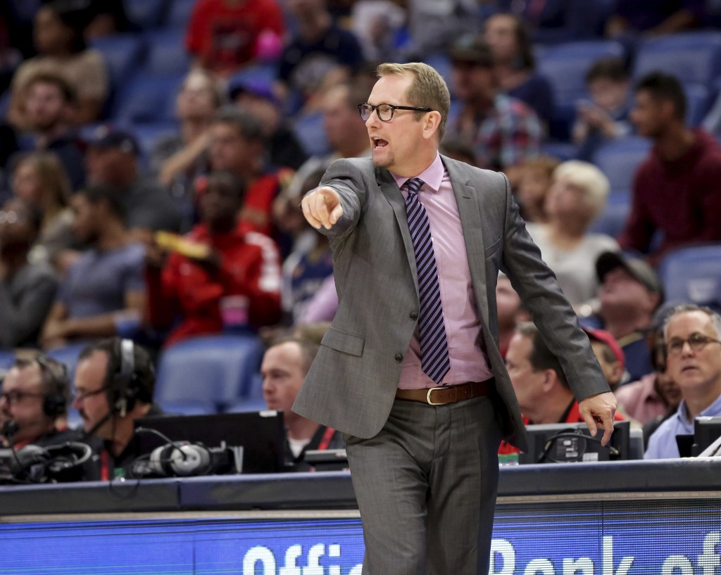 Toronto Raptors coach Nick Nurse calls to his players during the first half of a preseason NBA basketball game against the New Orleans Pelicans in New