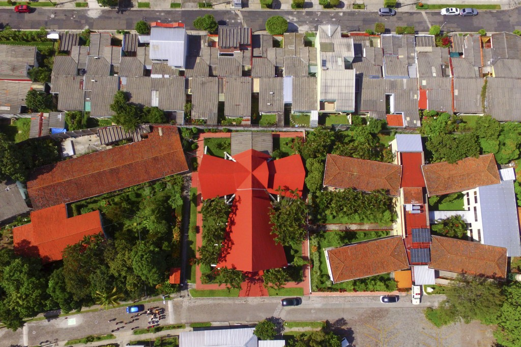 This Oct. 5. 2018 photo, shows an aerial view of the Divina Providencia chapel in San Salvador, El Salvador, where on March 24, 1980, Archbishop Oscar