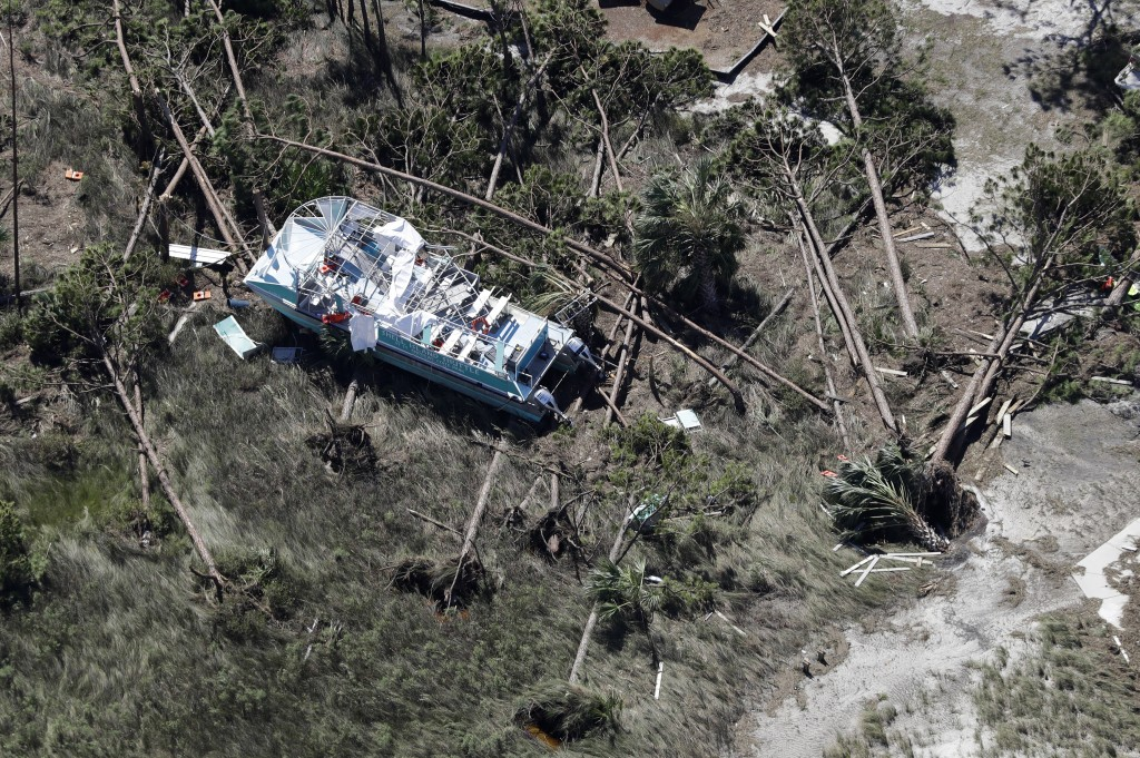 A boat destroyed by Hurricane Michael is shown in this aerial photo Thursday, Oct. 11, 2018, in Mexico Beach, Fla. The devastation inflicted by Hurric