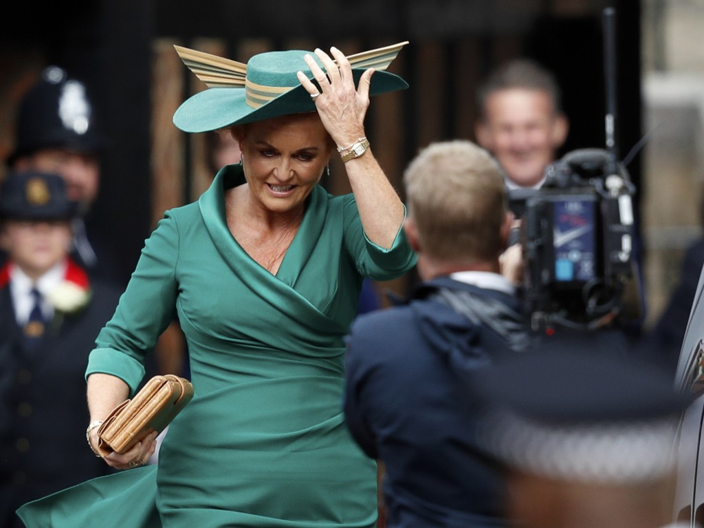 Sarah Ferguson, mother of Britain's Princess Eugenie of York, arrives to attend the wedding of Princess Eugenie of York and Jack Brooksbank at St Geor