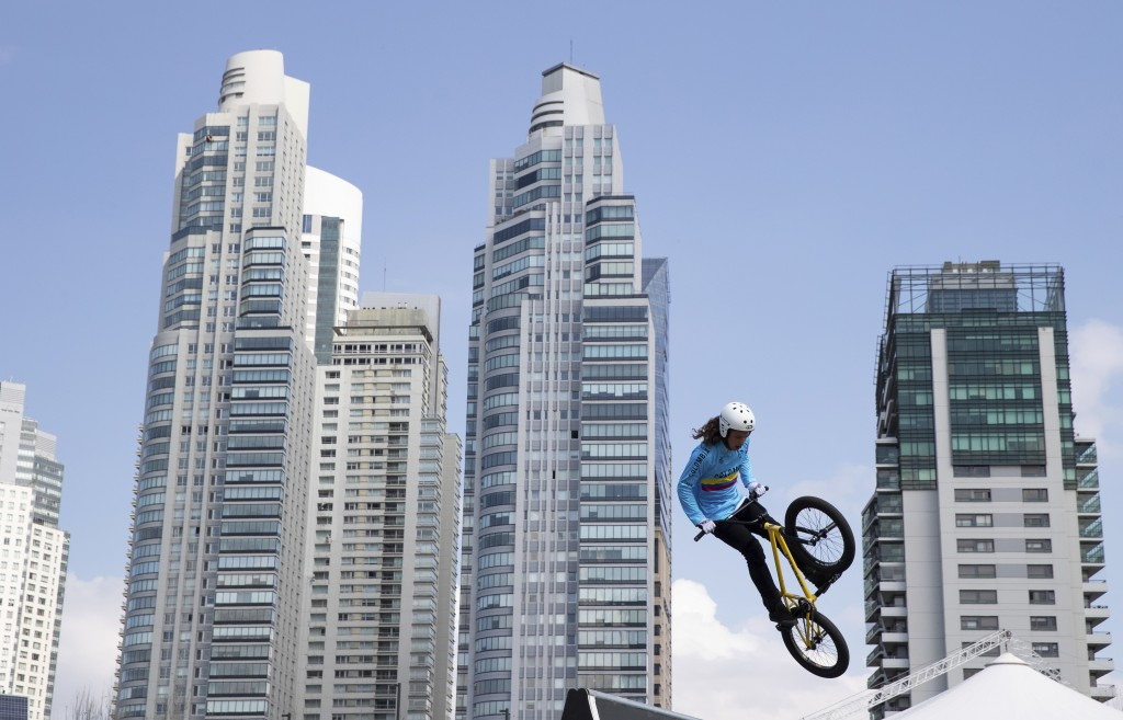 In this Monday, Oct. 8, 2018 photo, Colombia's BMX freestyle athlete Sebastian Martinez practices at the Urban Park, at the Youth Olympic Games in Bue