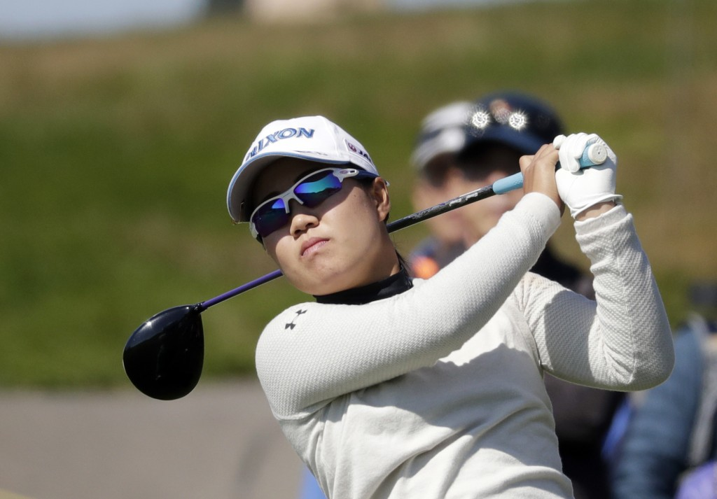 Nasa Hataoka of Japan watches her shot on the 7th hole during the second round of the LPGA KEB Hana Bank Championship at Sky72 Golf Club in Incheon, S