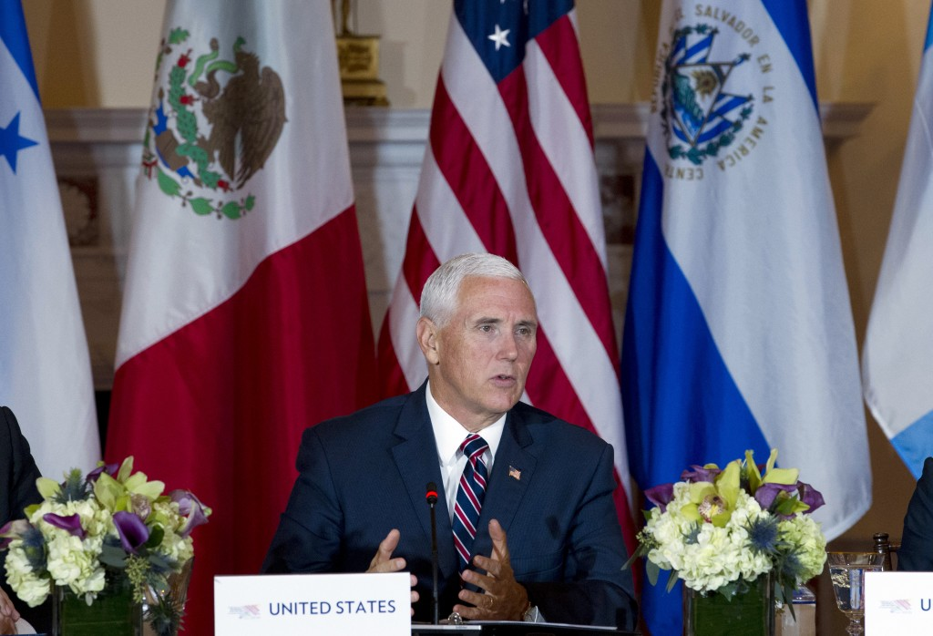 Vice President Mike Pence speaks during the second Conference for Prosperity and Security in Central America meeting at State Department on Thursday,