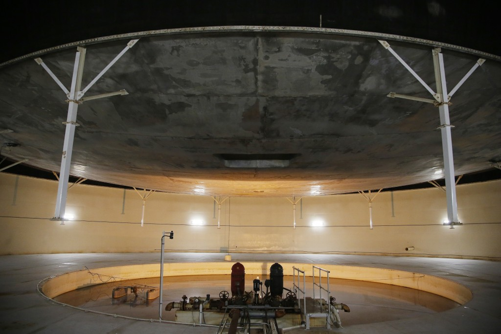 "This July 31, 2015 photo shows inside the South Lung, one of two large, above-ground domes that contain the biosphere's ""lungs"" or huge chambers that"
