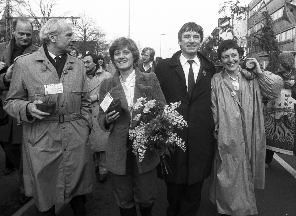 FILE - In this March 29, 1983 file photo leaders of the Greens, former General Gert Bastian his companion Petra Kelly, Otto Schily, and Marieluise Bec