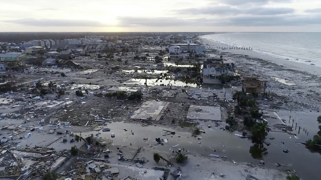 In this image made from video and provided by SevereStudios.com, damage from Hurricane Michael is seen in Mexico Beach, Fla. on Thursday, Oct. 11, 201