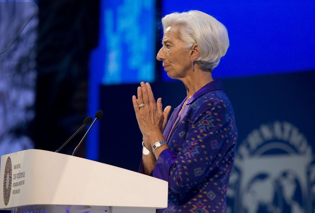 Managing Director of International Monetary Fund (IMF) Christine Lagarde delivers her speech during the opening of International Monetary Fund (IMF) W