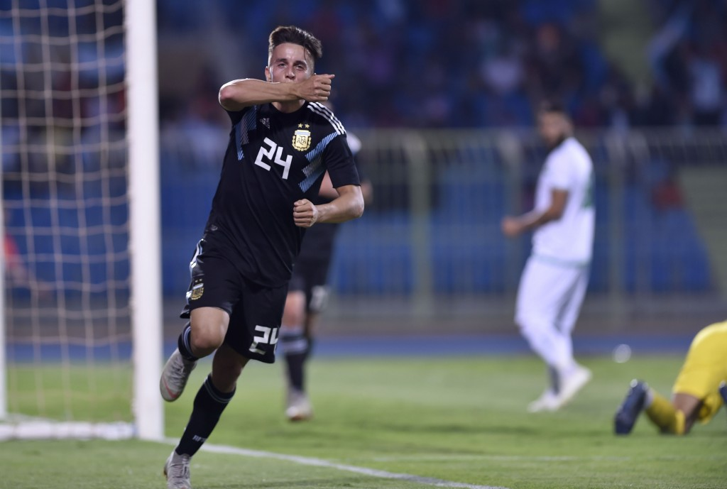 Argentina's Franco Cervi celebrates scoring his side's fourth goal during a friendly soccer match between Argentina and Iraq at Prince Faisal bin Fahd