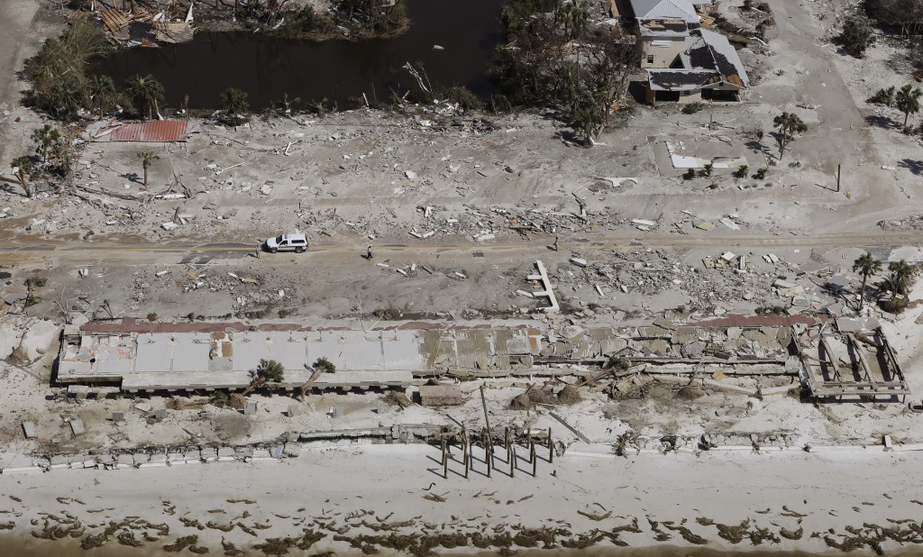 Homes washed away by Hurricane Michael are shown in this aerial photo Thursday, Oct. 11, 2018, in Mexico Beach, Fla.  Michael made landfall Wednesday