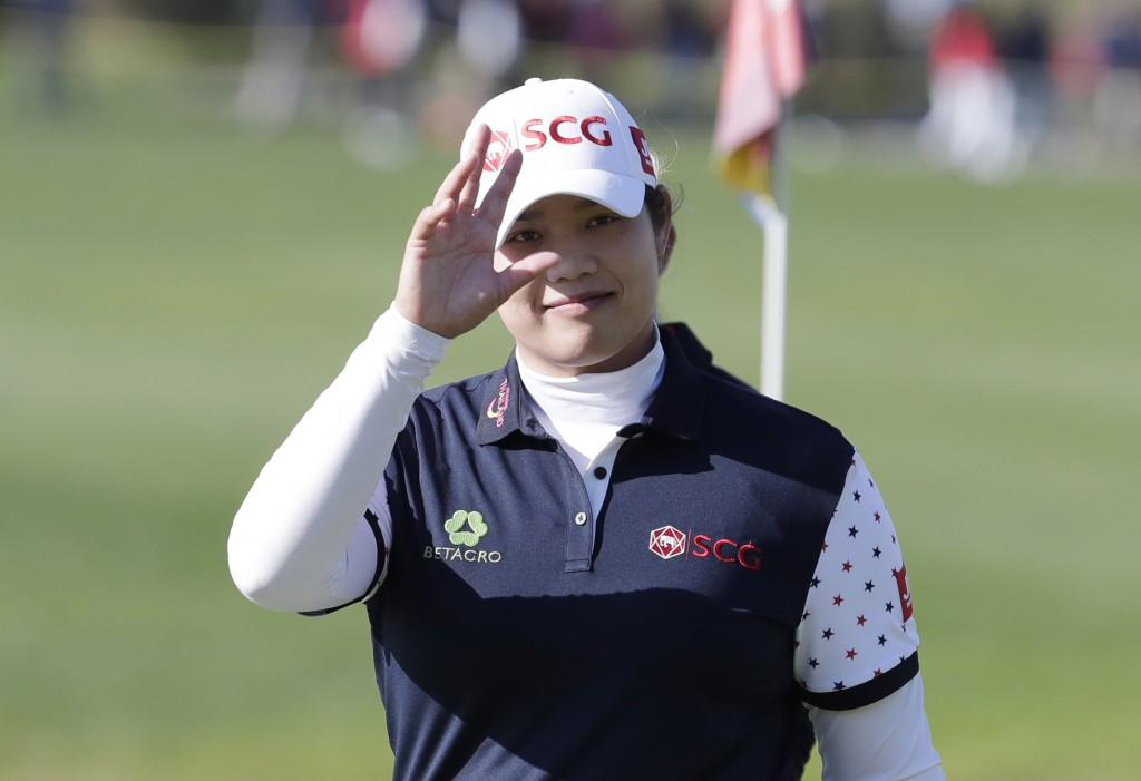 Ariya Jutanugarn of Thailand gestures on the 18th hole after finishing the second round of the LPGA KEB Hana Bank Championship at Sky72 Golf Club in I
