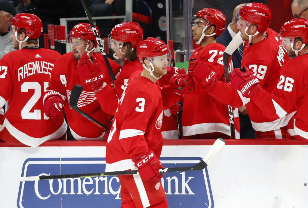 Detroit Red Wings defenseman Nick Jensen (3) celebrates his goal in the first period of an NHL hockey game against the Toronto Maple Leafs, Thursday,