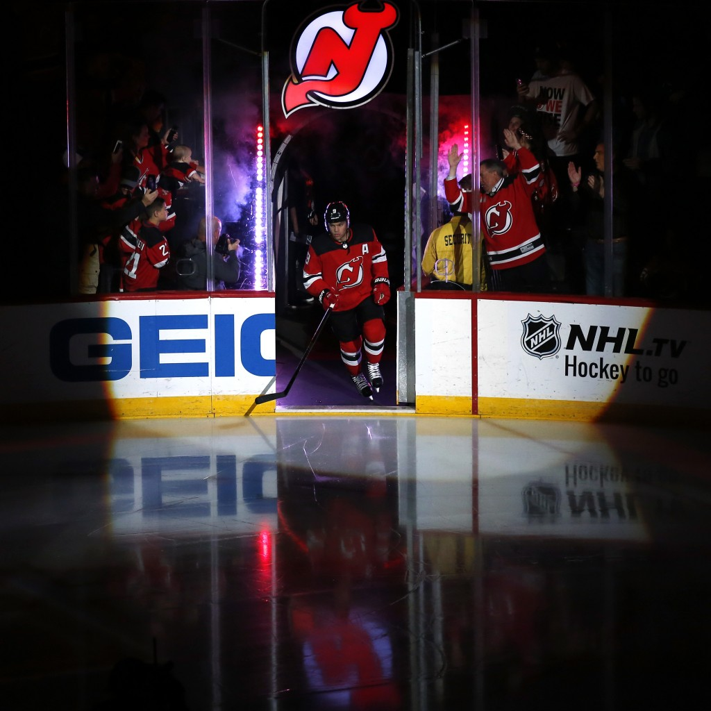New Jersey Devils left wing Taylor Hall is introduced for the team's NHL hockey game against the Washington Capitals on Thursday, Oct. 11, 2018, in Ne