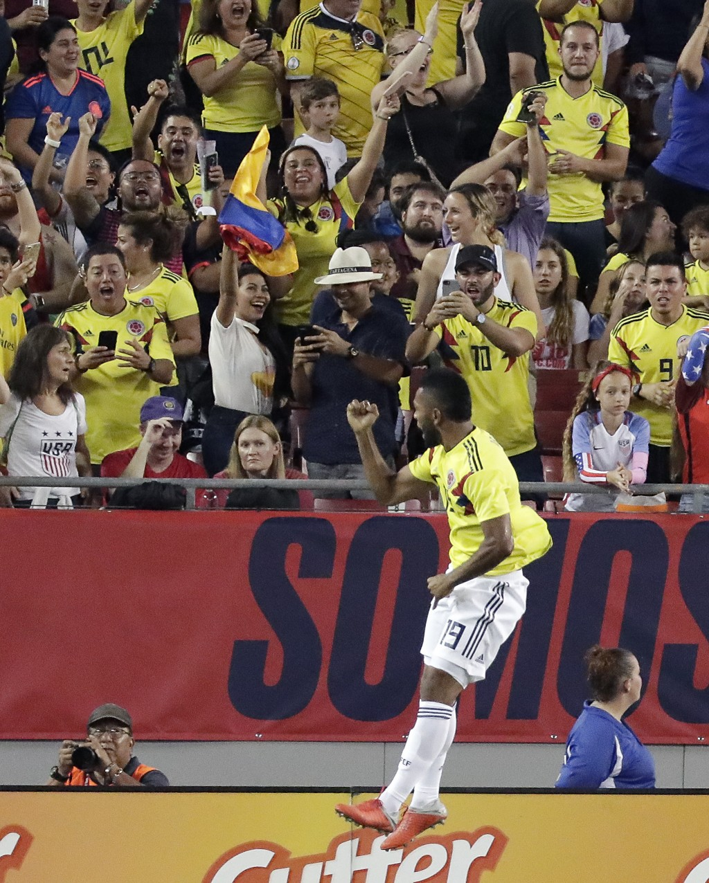 Colombia's Miguel Angel Borja (19) celebrates his goal against the United States in front of fans during the second half of an international friendly