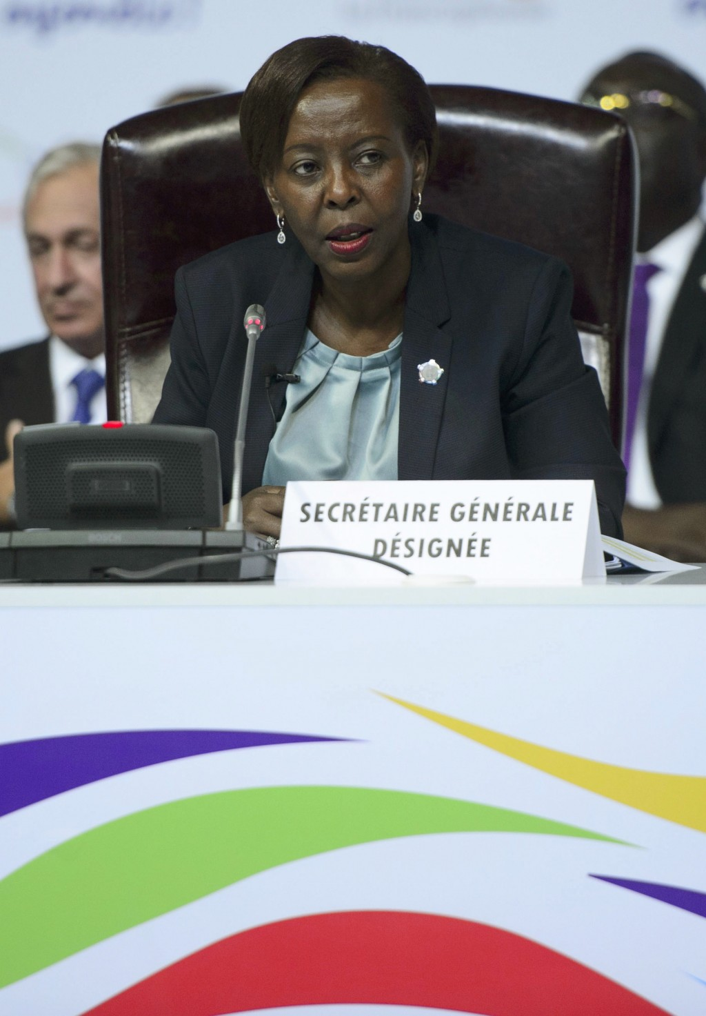 Francophonie Secretary-General designate Louise Mushikiwabo delivers a speech during the closing session of the Francophonie Summit in Yerevan, Armeni