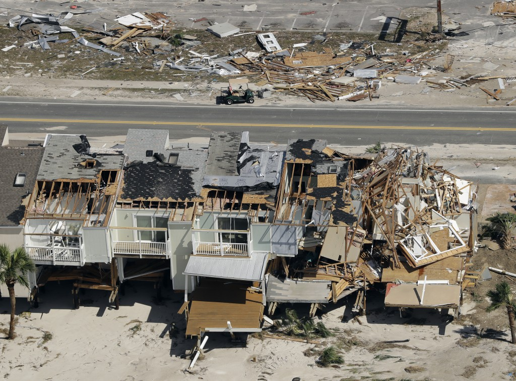 Homes destroyed by Hurricane Michael are shown in this aerial photo Thursday, Oct. 11, 2018, in Mexico Beach, Fla. The devastation inflicted by Hurric