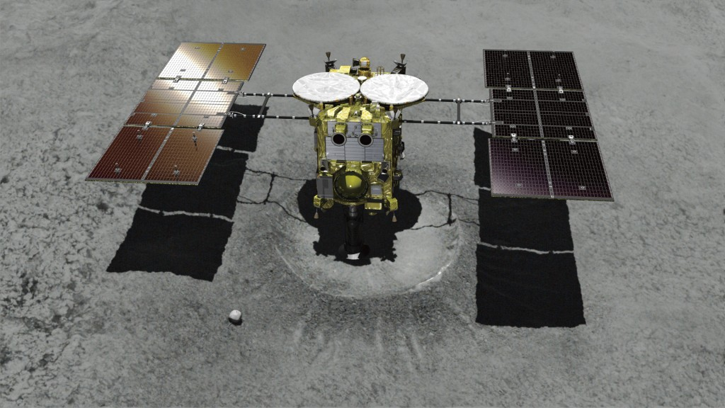 This computer graphic image provided by the Japan Aerospace Exploration Agency (JAXA) shows the Japanese unmanned spacecraft Hayabusa2 approaching on