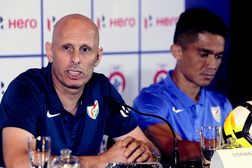 FILE - In this May 31, 2018, file photo, India's soccer coach Stephen Constantine speaks with captain Sunil Chhetri by his side during a pre-tournamen