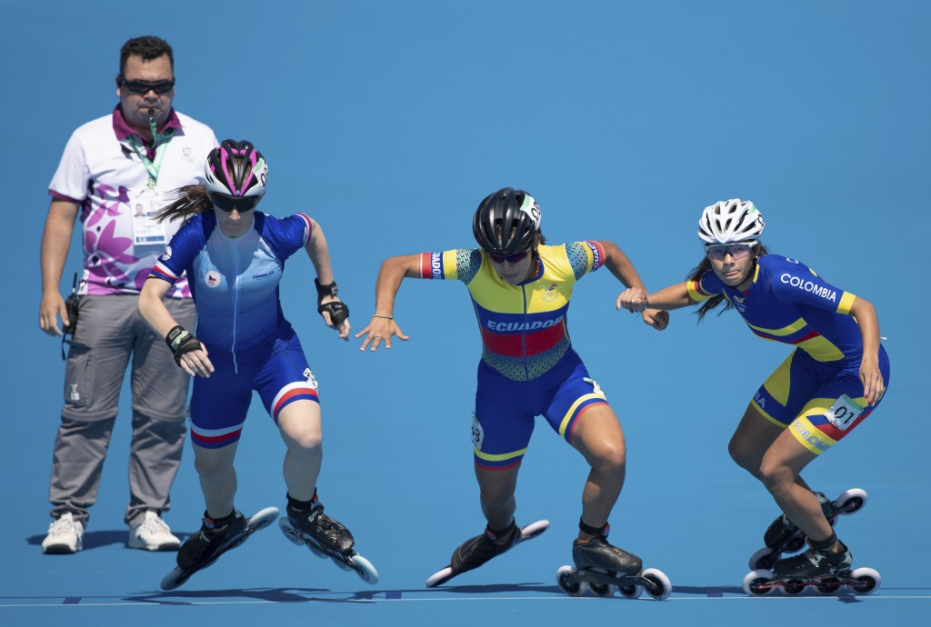 In this Monday, Oct. 8, 2018 photo, speed skaters Andrea Lokvencova of the Czech Republic, from left to right, Maria Arias of Ecuador and Gabriela Isa