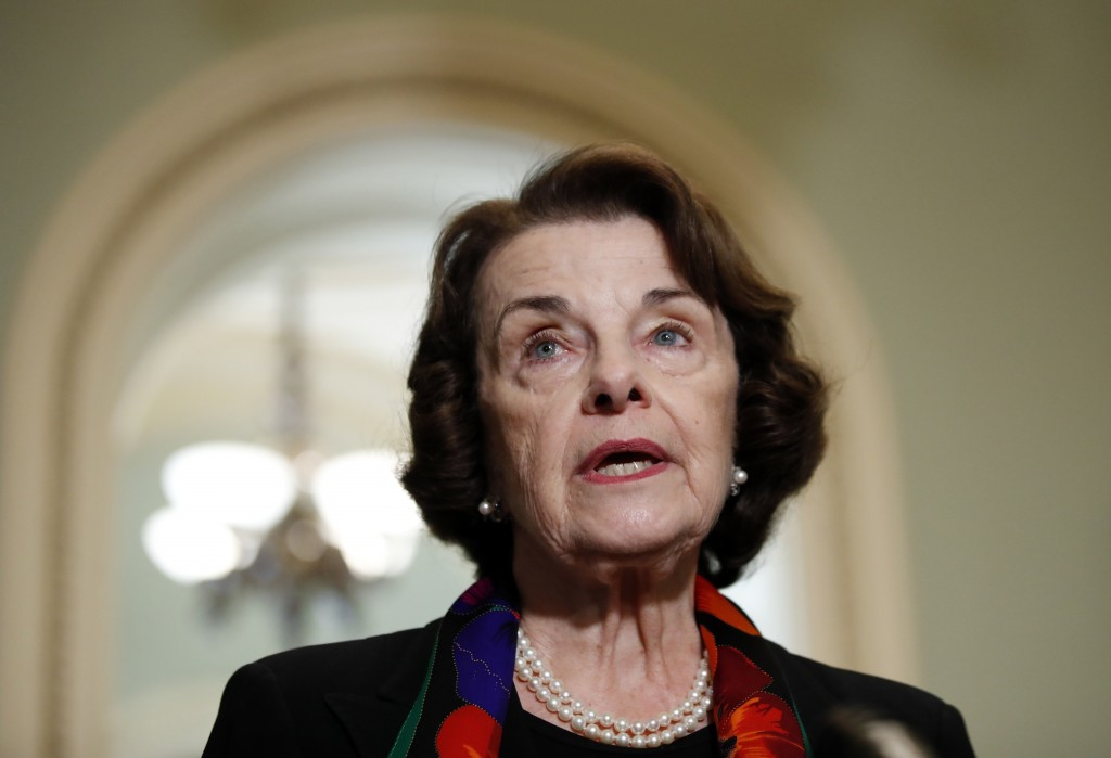 FILE - In this Oct. 4, 2018, file photo Sen. Dianne Feinstein, D-Calif., speaks to the media on Capitol Hill, in Washington. A Southern California man