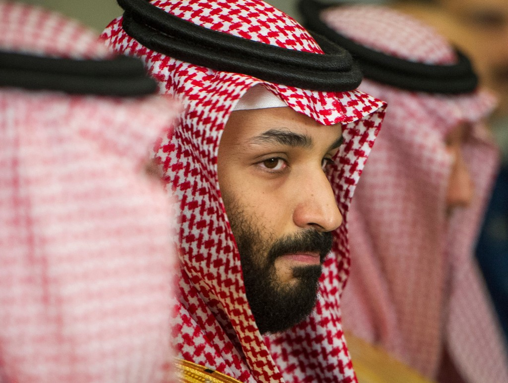 FILE - In this March 22, 2018, file photo, Saudi Crown Prince Mohammed bin Salman meets with U.S. Defense Secretary Jim Mattis at the Pentagon in Wash...