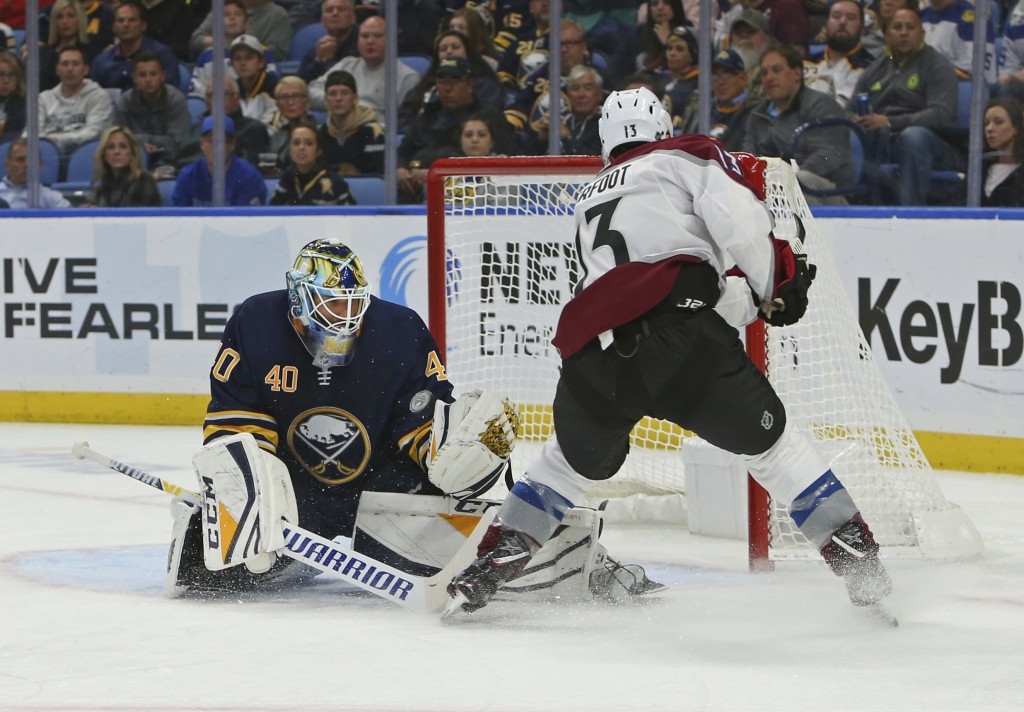 Buffalo Sabres goalie Carter Hutton (40) stops Colorado Avalanche forward Alexander Kerfoot (13) during the second period of an NHL hockey game Thursd