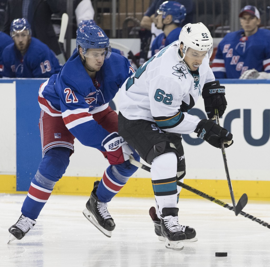 San Jose Sharks right wing Kevin Labanc (62) and New York Rangers center Brett Howden (21) compete for the puck during the second period of an NHL hoc
