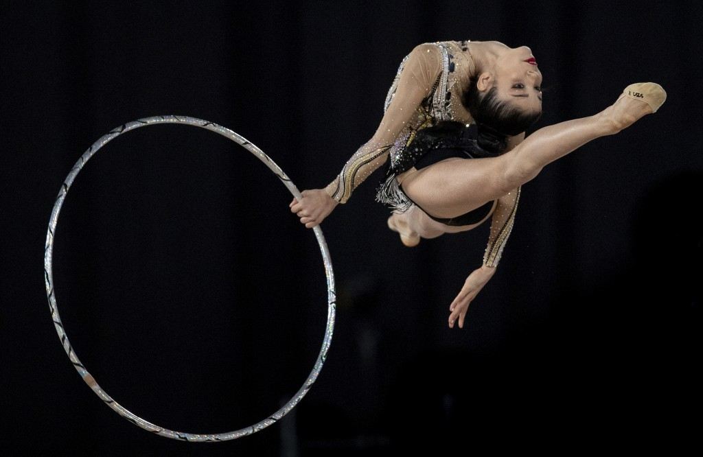 In this Tuesday, Oct. 9, 2018 photo, Brazil's Maria Eduarda De Almeida Arakaki competes in the Rhythmic Gymnastics Individual All-Around at the Americ