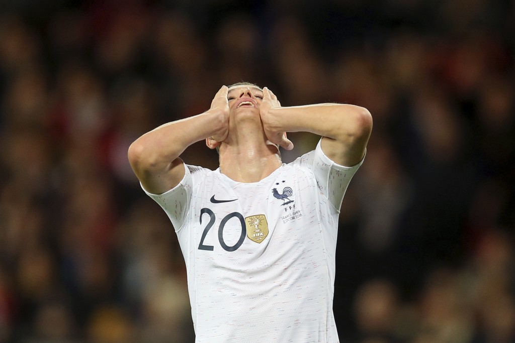 France's Florian Thauvin reacts after missing a chance to score during a friendly soccer match between France and Iceland, in Guingamp, western France