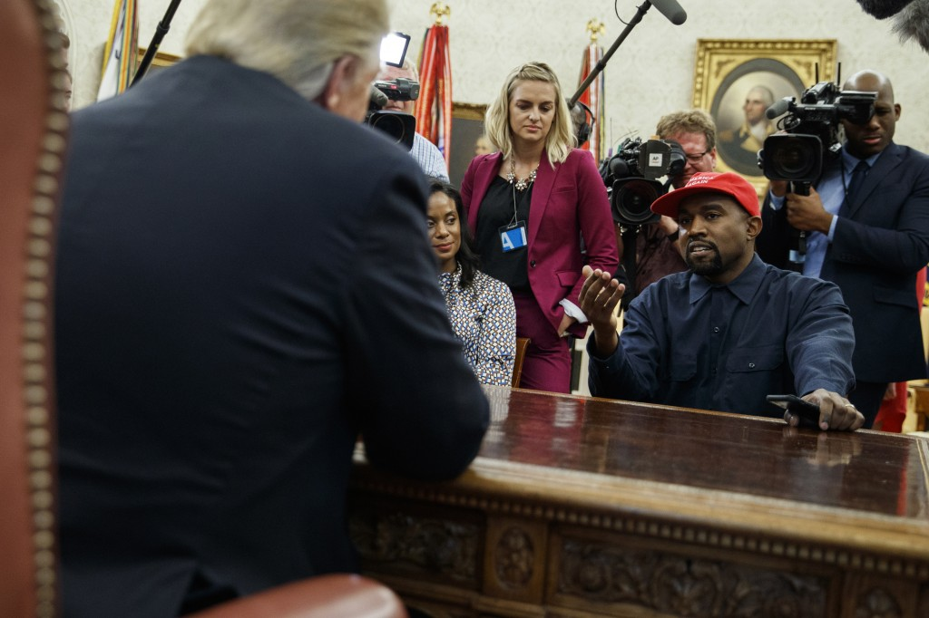 FILE - Oct. 11, 2018 file photo, Rapper Kanye West speaks during a meeting in the Oval Office of the White House with President Donald Trump, in Washi