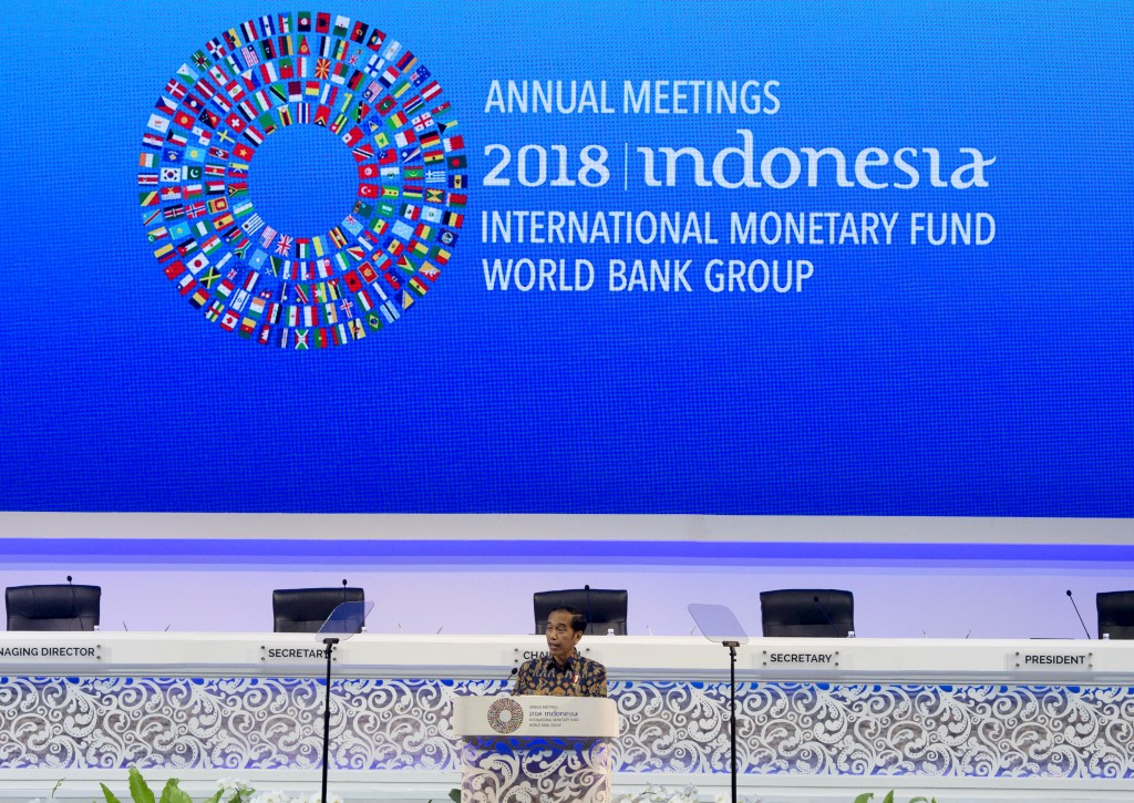 Indonesia's President Joko Widodo delivers his speech during the opening of International Monetary Fund (IMF) World Bank annual meetings in Bali, Indo