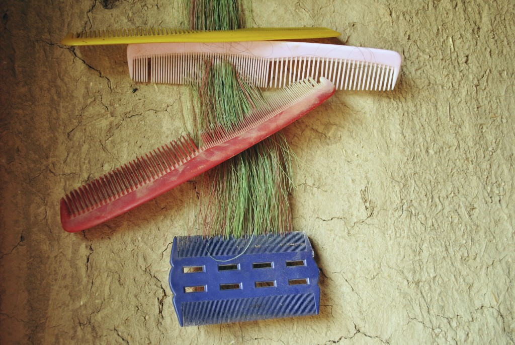 In this Wednesday, June 27, 2018, photo, Ansa Khan and her sister's combs hang on the mud wall of her house in Mardan, Pakistan. (AP Photo/Saba Rehman