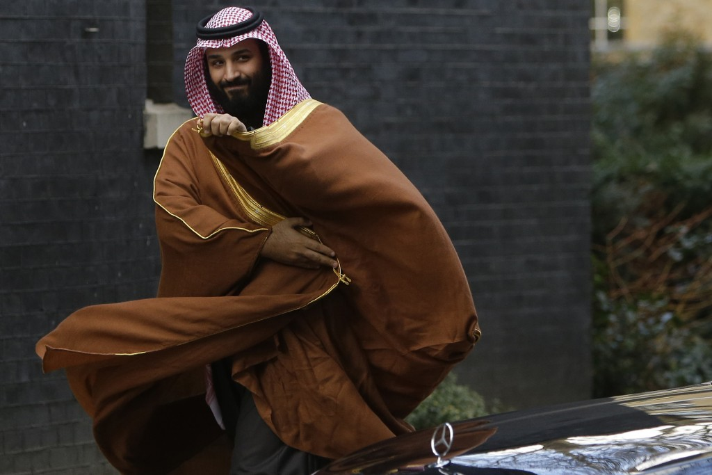 FILE - In this March 7, 2018, file photo, Saudi Arabian Crown Prince Mohammed bin Salman arrives to meet Prime Minister Theresa May outside 10 Downing