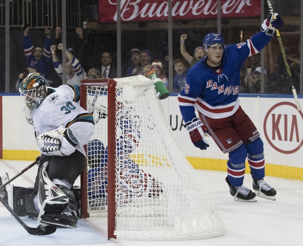 New York Rangers defenseman Brady Skjei (76) reacts after scoring past San Jose Sharks goaltender Aaron Dell (30) in overtime of an NHL hockey game Th