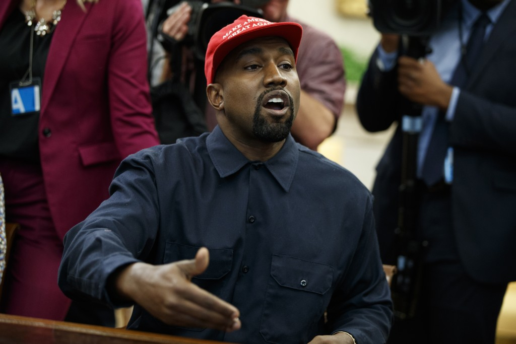 Rapper Kanye West speaks during a meeting in the Oval Office of the White House with President Donald Trump, Thursday, Oct. 11, 2018, in Washington. (