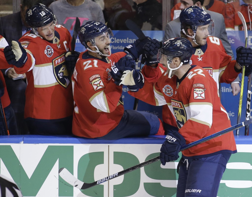 Florida Panthers right wing Troy Brouwer (22) celebrates with teammates after scoring a goal during the second period of an NHL hockey game against th