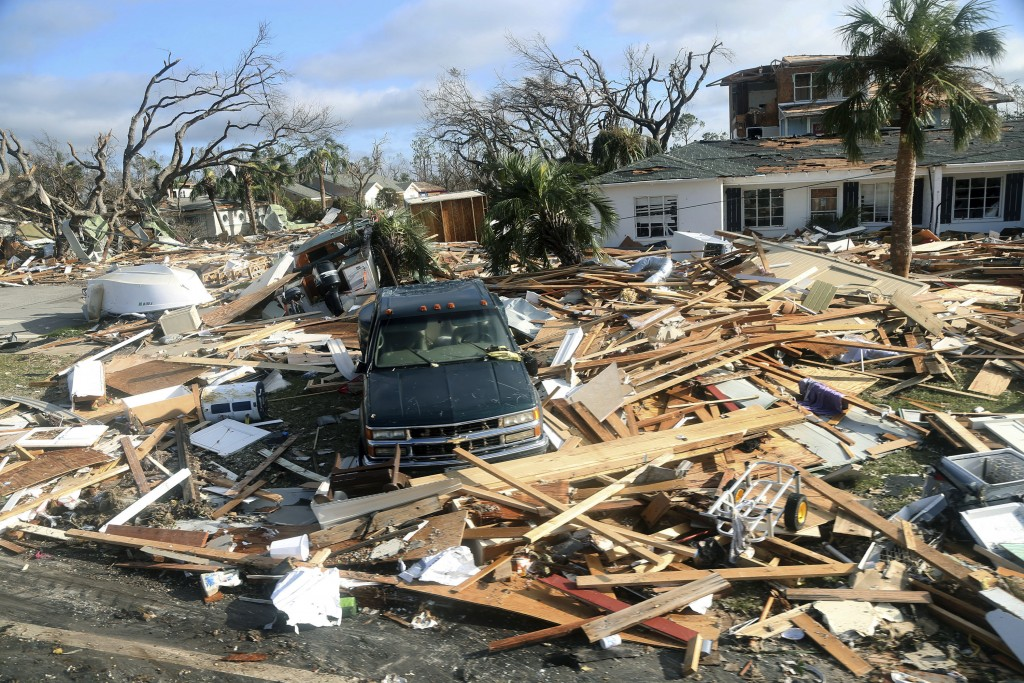 The coastal township of Mexico Beach, Fla., lays devastated on Thursday, Oct. 11, 2018, after Hurricane Michael made landfall on Wednesday in the Flor